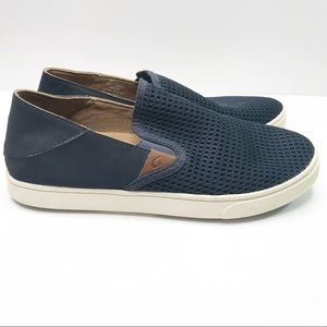 Olukai Dede Pehuea navy blue slip on loafer sz 8.5